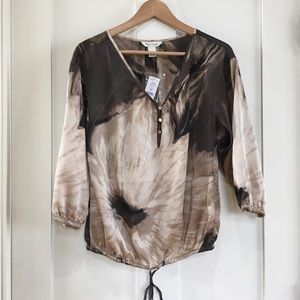 White House Black Market Peasant Top Tan
